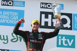 Andrew Jordan celebrates a podium finish in the HiQ MSA BTCC