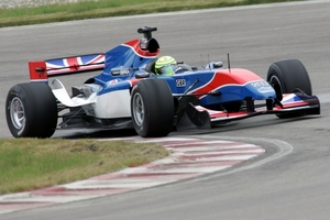 Danny Watts driving for Team Great Britain in the 2008-09 A1GP