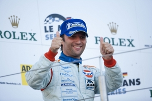 Darren Turner on the Le Mans Series podium at Nurburgring, August 2009