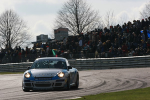 Euan in action in Porsche Carrera Cup at Thruxton April 2010