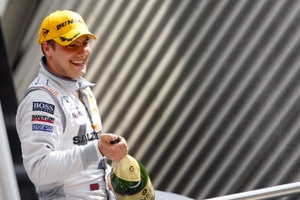 Gary Paffett celebrates his DTM victory at the Eurospeedway, Lausitz