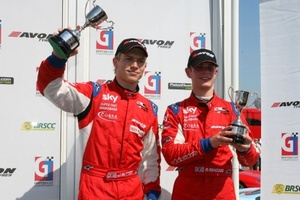 Michael Meadows on the British GT3 podium with fellow Rising Star James Sutton in 2008