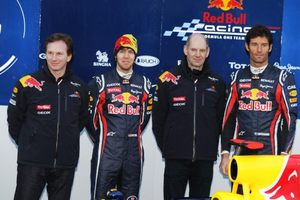 2011 Red Bull Racing line up of Christian with Adrian Newey, Sebastian Vettel and Mark Webber