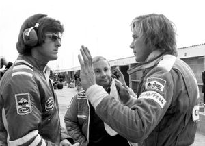 Alastair with Teddy Mayer and James Hunt in 1976