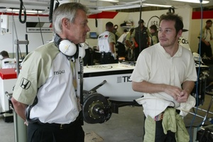 Adrian with Jacques Villeneuve at the 2002 US GP in Indianapolis