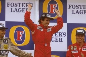 Alain celebrating his victory in the 1986 Australian GP