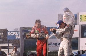 Ben on the Formula Three podium at Donnington 2000