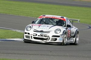 Bradley in the Porsche 911 GT3 at Silverstone in the British GT Championship
