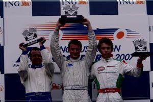 Charlie at the 2007 Australian GP on the podium with Tim Macrow and Marco Mapelli