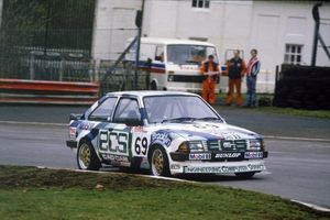 Chris in his Ford Escort RS 1600i at Oulton Park in April, 1985