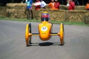 Chris in the McLaren MP4-T5 during the 2002 Goodwood Soap Box Challenge
