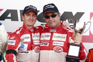 Chris with Tim Mullen celebrating victory in the 2006 British GT Championship at Brands Hatch