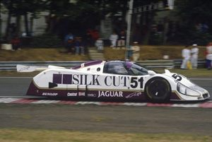 Derek driving the Silk Cut Jaguar XJR 6 at Le Mans in 1986
