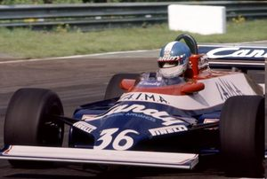 Derek driving the Toleman TG181C Hart in the 1982 Belgium GP