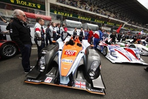 Dave with the Aston Racing at Le Mans, 2011 with drivers Stefan Mucke, Darren Turner and Christian Klien