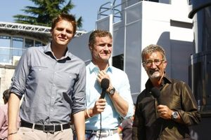 Eddie with Jake Humphrey and David Coulthard at the Italian GP 2010