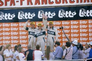 Hans on the podium at the 1984 Spa 24H race with his Jaguar XJ-S co drivers Tom Walkinshaw and Win Percy