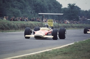 Jackie in the Lotus 49B at the 1968 British Grand Prix