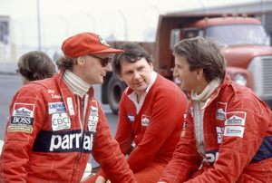 John with Niki Lauda and John Barnard at the 1982 Detroit GP
