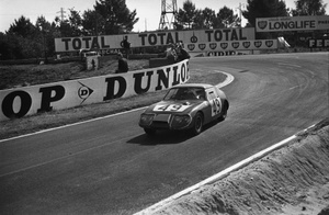 John driving the Austin-Healey Sprite at Le Mans, 1965