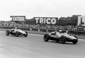 Keith at the 1960 British Grand Prix at Silverstone in the Cooper T45-Maserati following Gino Munaron
