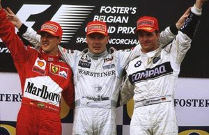 Mika winning the 2000 Belgium GP with Michael & Ralf Schumacher in 2nd & 3rd.