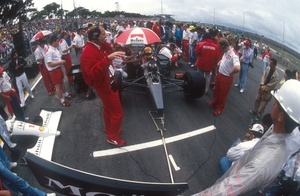 Neil and Ron Dennis in front of the McLaren MP4 6 Honda at the 1991 Brazilian GP