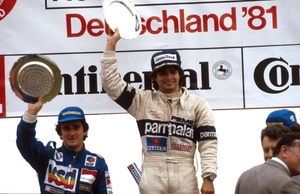 Nelson celebrating his victory in the 1981 German GP