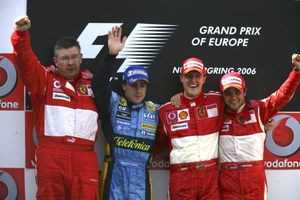 Ross on the podium at 2006 European GP with F Alonso, M Schumacher and P Massa