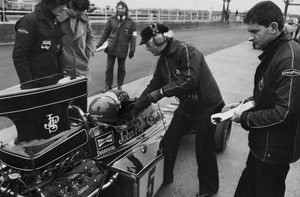 Ralph with Colin Chapman at Silverstone during the 1975 John Player British GP