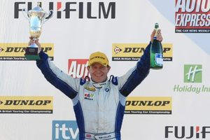 Rob on podium at Brands Hatch, October 2010