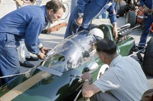 Ron at the 1967 Italian GP at Monza with Jack Brabham in the BT24-Repco