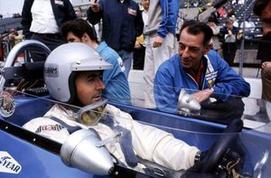 Ron with Jack Brabham at the 1969 Indianaplois 500 in the Brabham Repco