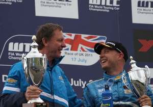 Ray with Rob Huff on the podium at Donnington Park, July 2011