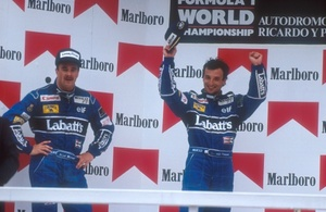 Richardo with Nigel Mansell celebrating victory at the 1991 Mexican Grand Prix