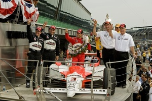 Roger celebrating at the 2009 IRL Indy 500 race