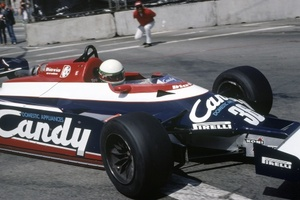 Teo in the 1982 US West Grand Prix in the Toleman TG181