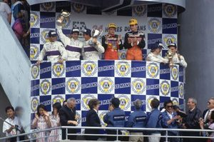 Teo receiving the 3rd prize at the 1991 Le Mans 24h race