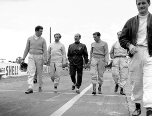 Tim at Silverstone, July 1961, with Innes Ireland, Stiring Moss and Jim Clark