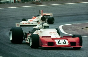 Tim in the 1974 Spanish GP finishing 14th in the Trojan T103 Ford.