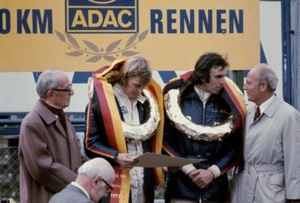 Tim with Ronnie Peterson finishing 1st in the 1972 Nurburgring 1000km.