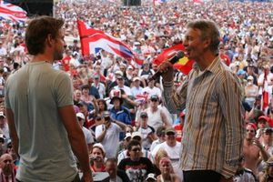 Tony interviewing Jenson Button at the 2006 British GP at Silverstone