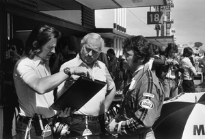 Tony with Colin Chapman and Mario Andretti at the Spanish GP 1977