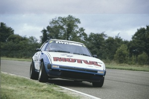 Win driving the Mazda RX7 at Thruxton in the 1981 British Touring Car Championship