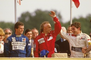 Niki winning the British Grand Prix at Brans Hatch from Derek Warwick and Ayrton Senna