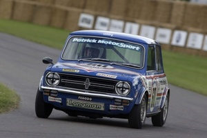 Richard driving the Mini 1275GT at Goodwood in July 2008